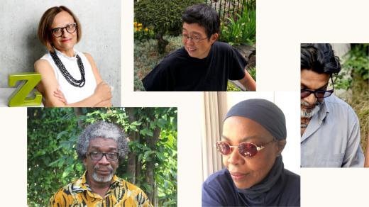 Clockwise from top: Zainub Verjee, Laiwan, Shaheen Merali, Linda Mvusi, and Rikki Wemega-Kwawu.
